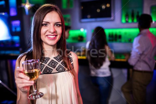 Bella donna vetro vino ristorante donna Foto d'archivio © wavebreak_media
