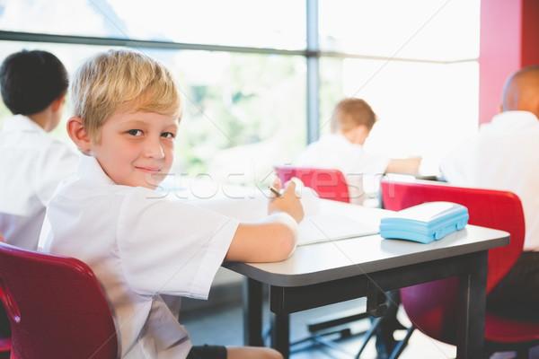 Iskolás gyerekek házi feladat osztályterem iskola gyermek ceruza Stock fotó © wavebreak_media