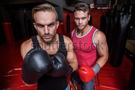 Vrouwelijke bokser boksen houding portret Stockfoto © wavebreak_media