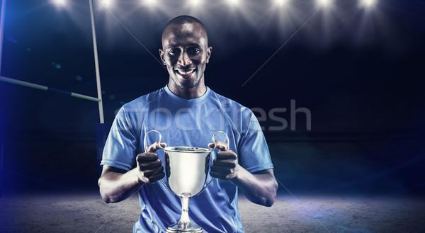 összetett kép portré boldog atléta tart Stock fotó © wavebreak_media