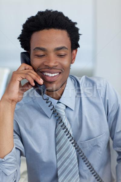 üzletember telefon iroda fiatal megbeszélés boldog Stock fotó © wavebreak_media