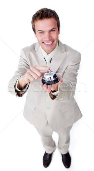 Glimlachend zakenman dienst bel geïsoleerd witte Stockfoto © wavebreak_media
