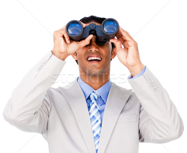 Uśmiechnięty biznesmen lornetki biały człowiek garnitur Zdjęcia stock © wavebreak_media