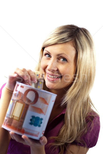 Mulher dinheiro mulher jovem cara olhos Foto stock © wavebreak_media