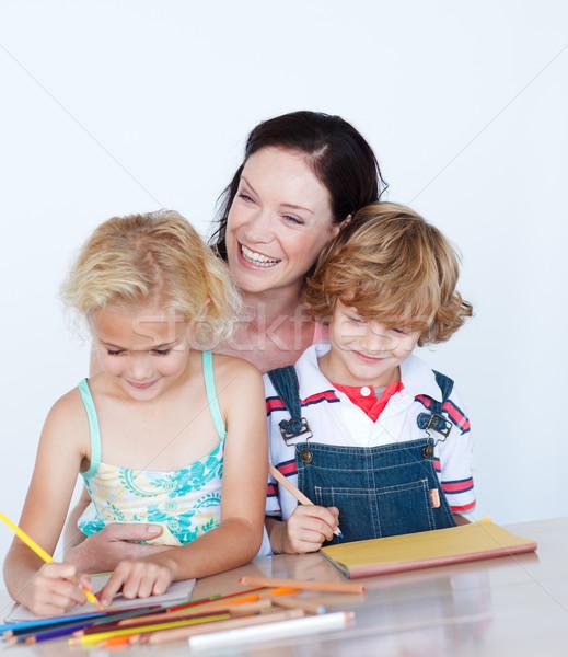 Gyerekek házi feladat anya boldog diák ír Stock fotó © wavebreak_media