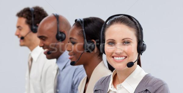 Close-up of customer business representatives with headset on Stock photo © wavebreak_media