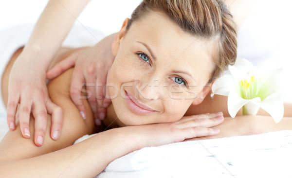 Encantado mulher de volta massagem estância termal Foto stock © wavebreak_media