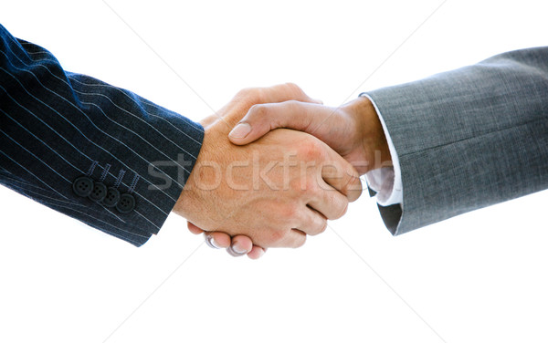 Primer plano gente de negocios apretón de manos blanco mujer oficina Foto stock © wavebreak_media