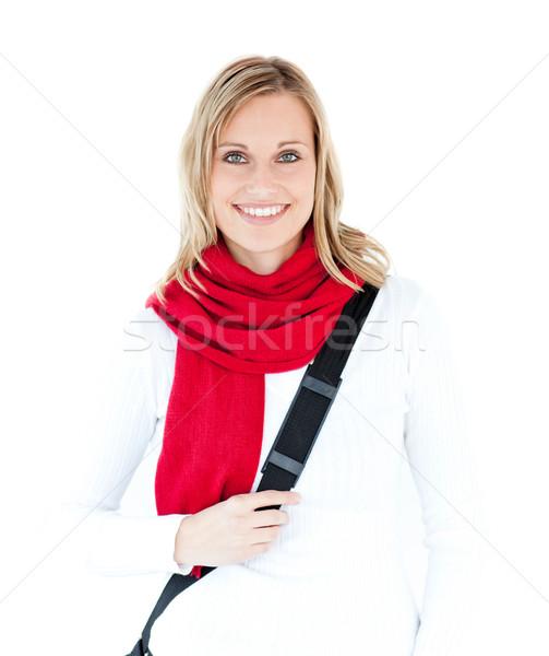 Portrait ravi étudiant écharpe souriant caméra Photo stock © wavebreak_media