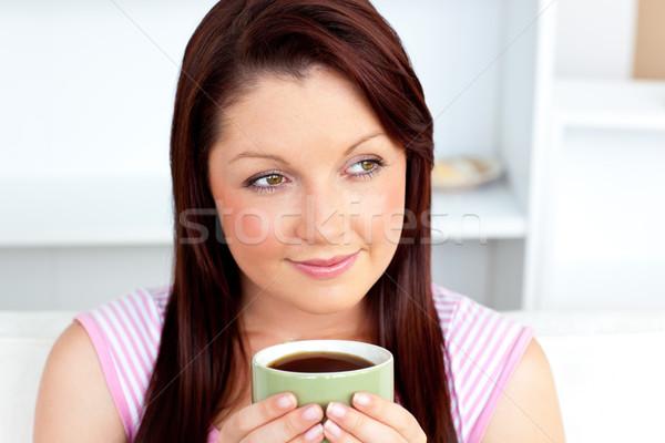 Kaukasisch vrouw beker koffie home Stockfoto © wavebreak_media