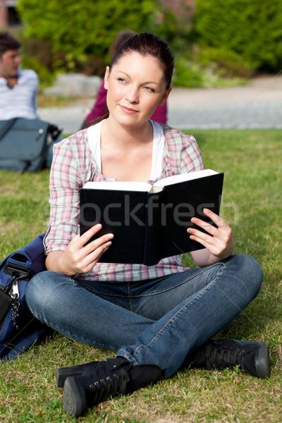 Luminoso femminile studente lettura libro seduta Foto d'archivio © wavebreak_media