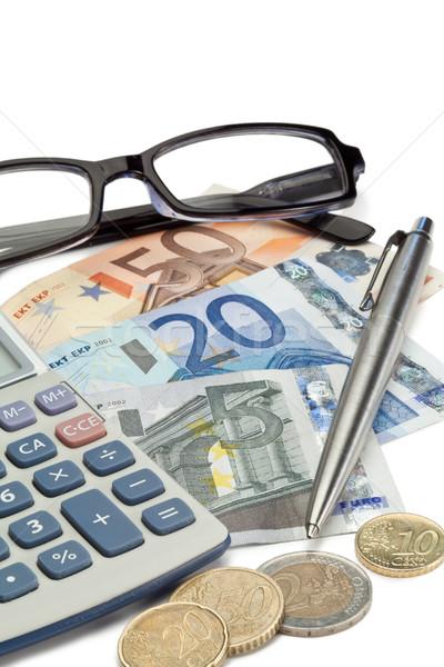 お金 ペン 眼鏡 ポケット 電卓 白 ストックフォト © wavebreak_media