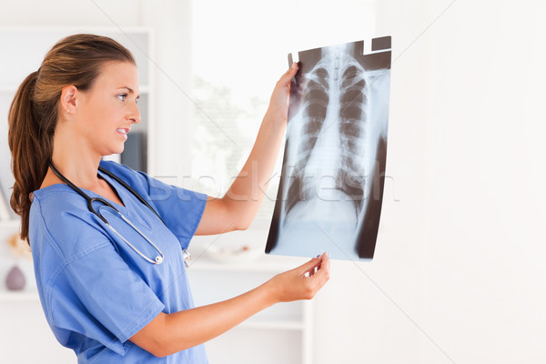 Good looking brunette doctor with stethoscope and x-ray in the surgery Stock photo © wavebreak_media