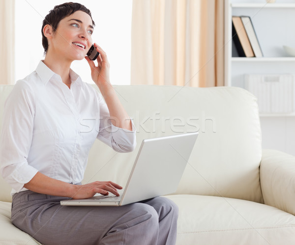Gorgeous short-haired woman with a laptop and a phone in the living room Stock photo © wavebreak_media