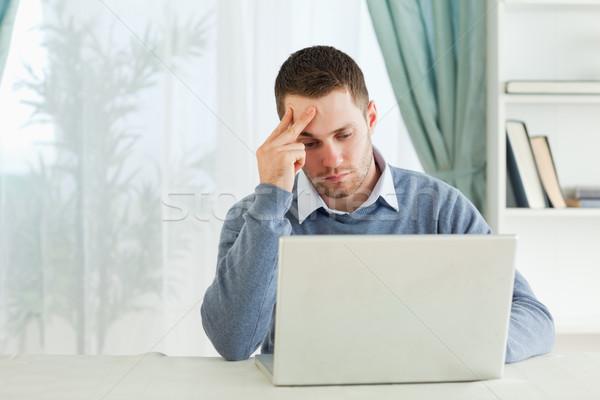 Genç yorgun işadamı iş bilgisayar ev Stok fotoğraf © wavebreak_media