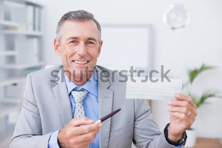 Young businessman smiling tired in his homeoffice Stock photo © wavebreak_media