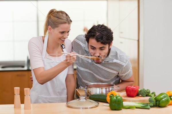 カップル ソース キッチン 幸せ 健康 ストックフォト © wavebreak_media