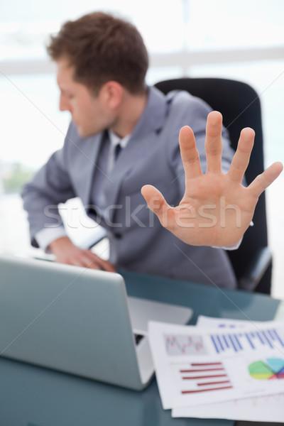Hand zakenman gebruikt signaal afwijzing business Stockfoto © wavebreak_media