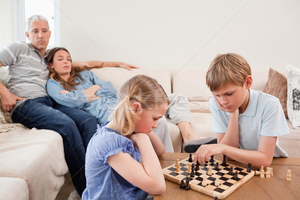 Photo stock: Jouer · échecs · parents · salon · famille