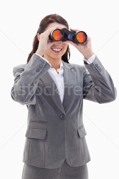 Primo piano imprenditrice sorridere guardando binocolo lato Foto d'archivio © wavebreak_media