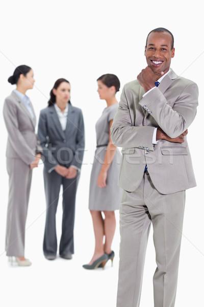 Stock fotó: Boldog · üzletember · kéz · áll · három · munkatársak