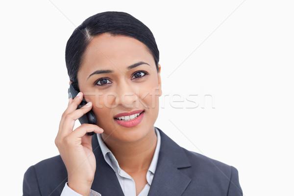 Verkoopster mobieltje witte business glimlach Stockfoto © wavebreak_media