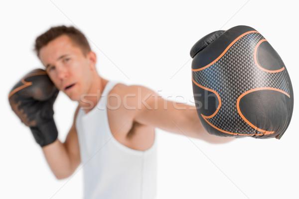 Stock fotó: ököl · boxoló · fehér · fitnessz · box · egy · személy