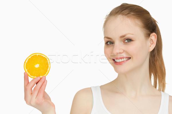 Wesoły kobieta pomarańczowy plasterka biały strony Zdjęcia stock © wavebreak_media