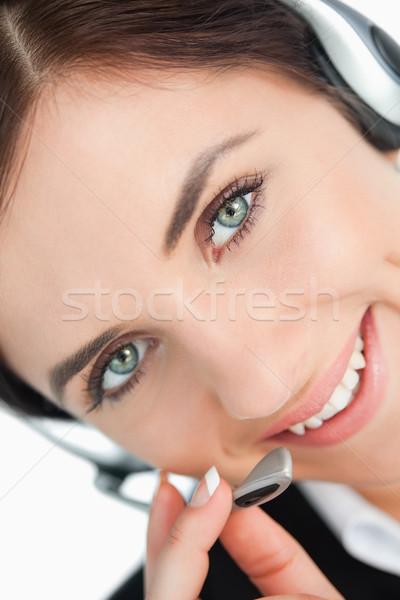 Vert femme casque heureux yeux Photo stock © wavebreak_media