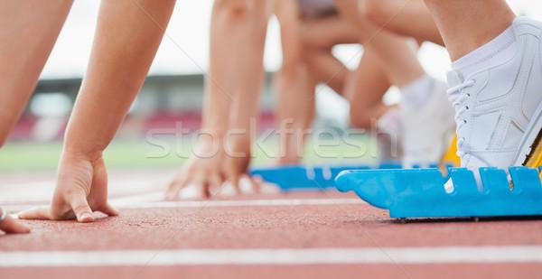 Koşucu bekleme arkasında başlatmak hat hazır Stok fotoğraf © wavebreak_media