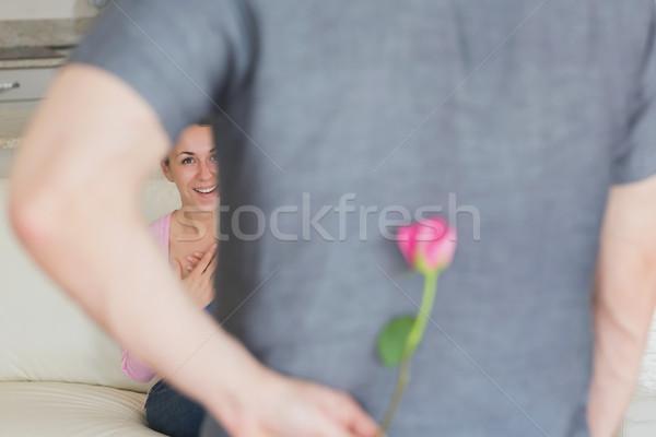 Marido ocultação flor atrás de volta esposa Foto stock © wavebreak_media
