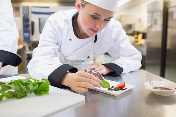 Chef mint dessert plaat cake keuken Stockfoto © wavebreak_media
