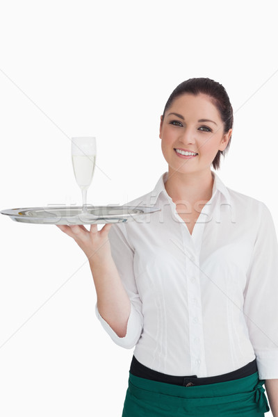 Waitress holding silver tray with champagne Stock photo © wavebreak_media