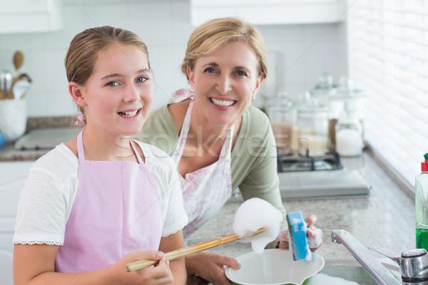 счастливым матери дочь стиральные вверх вместе Сток-фото © wavebreak_media