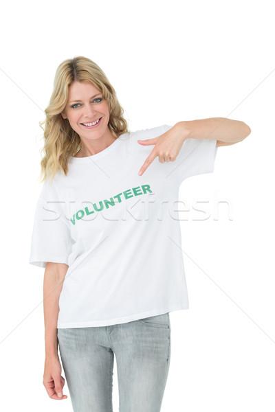 Stok fotoğraf: Portre · mutlu · kadın · gönüllü · işaret · yardım