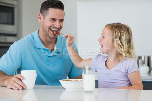 Zdjęcia stock: Córka · zboża · ojciec · tabeli · szczęśliwy