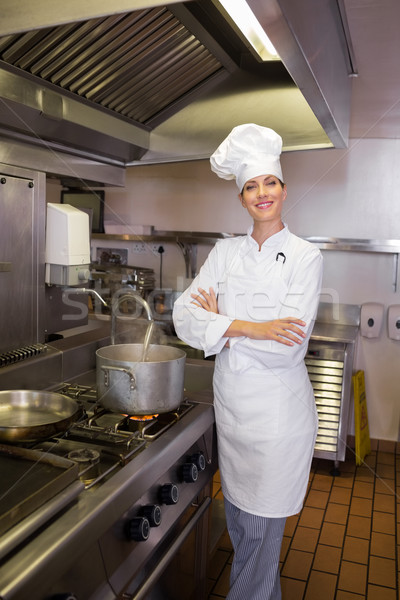 Glimlachend vrouwelijke kok keuken portret Stockfoto © wavebreak_media