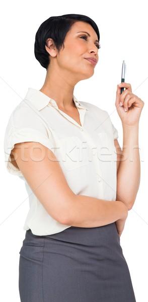 ブラウン 女性実業家 スカート 白 ビジネス ストックフォト © wavebreak_media