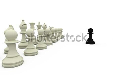 White chess pieces in a row Stock photo © wavebreak_media