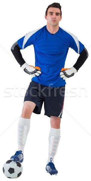 Guapo portero azul fútbol fútbol artes Foto stock © wavebreak_media
