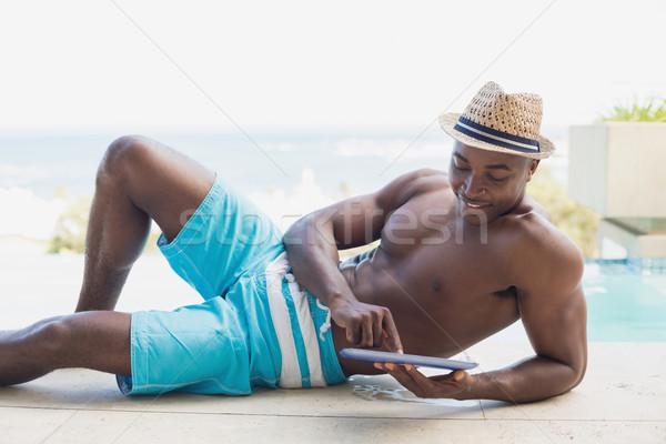 Knap shirtless man tuin Stockfoto © wavebreak_media