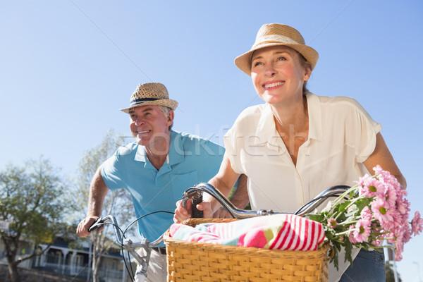 Gelukkig fiets stad bloemen Stockfoto © wavebreak_media