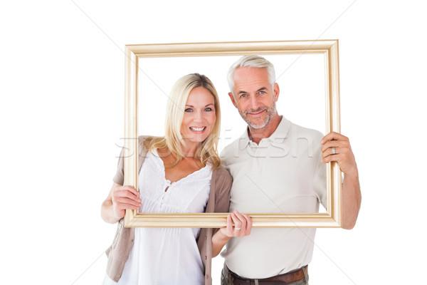 Feliz Pareja marco de imagen blanco mujer Foto stock © wavebreak_media