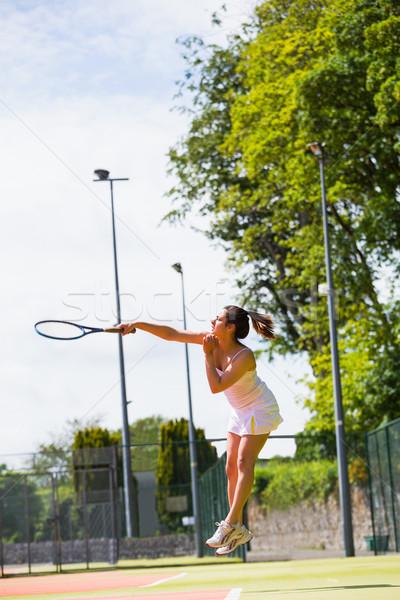 Stock fotó: Csinos · teniszező · labda · napos · idő · sport · fitnessz