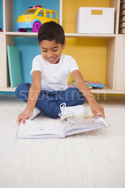 Stock fotó: Aranyos · kicsi · fiú · ül · padló · olvas