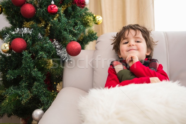Mały chłopca uśmiechnięty kamery domu Zdjęcia stock © wavebreak_media