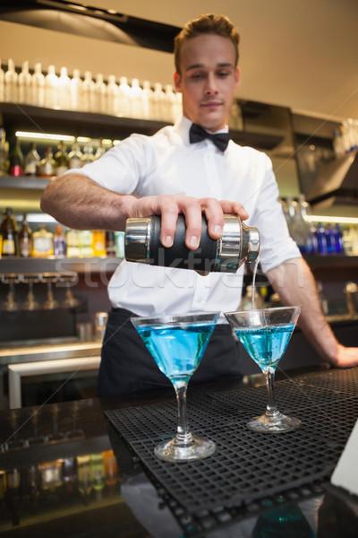 Stockfoto: Barman · cocktail · bril · bar · glas