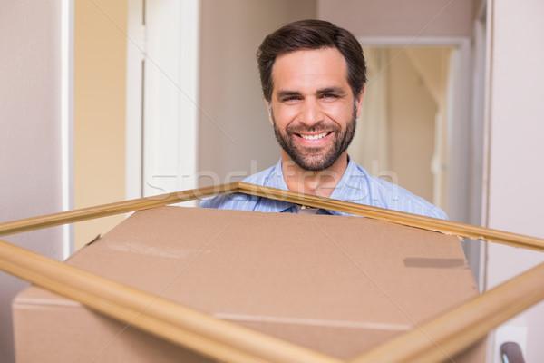Boldog férfi hordoz mozog doboz keret Stock fotó © wavebreak_media
