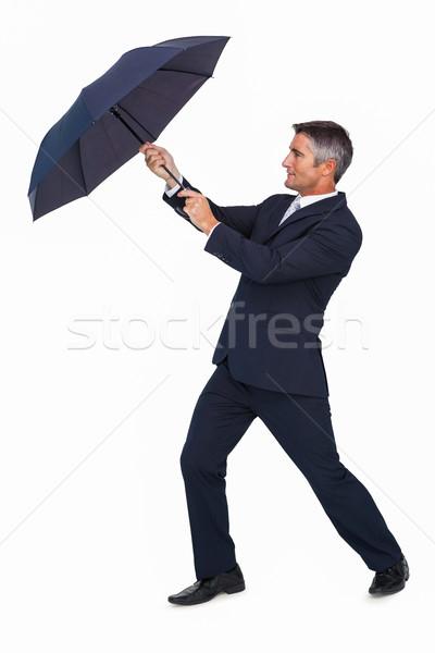 üzletember toló szél esernyő fehér üzlet Stock fotó © wavebreak_media