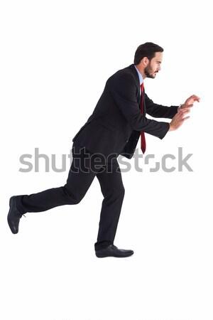 Geschäftsmann Anzug schieben Hände weiß Hand Stock foto © wavebreak_media